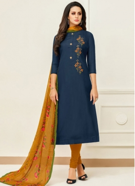 Mustard and Navy Blue Chanderi Cotton Trendy Churidar Suit