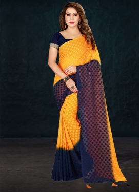 Mustard and Navy Blue Contemporary Style Saree For Casual