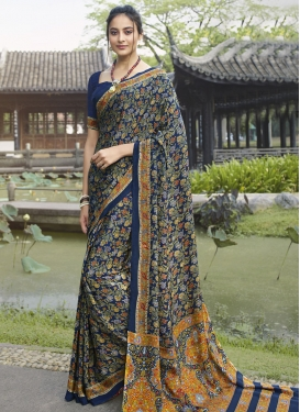 Mustard and Navy Blue Digital Print Work Traditional Designer Saree