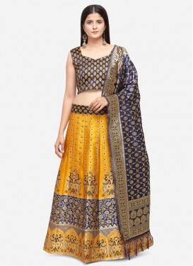 Mustard and Navy Blue Woven Work A Line Lehenga Choli