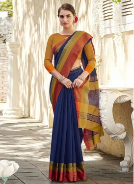 Mustard and Navy Blue Woven Work Trendy Classic Saree