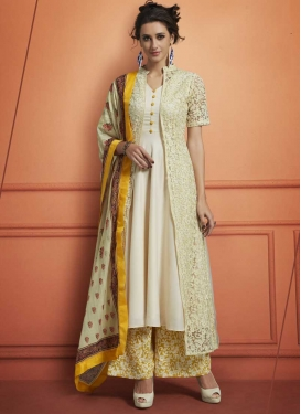 Mustard and Off White Designer Palazzo Salwar Kameez
