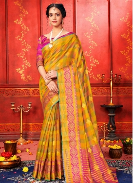 Mustard and Olive Woven Work Designer Contemporary Style Saree