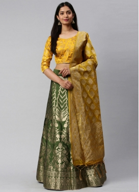 Mustard and Olive Woven Work Trendy A Line Lehenga Choli