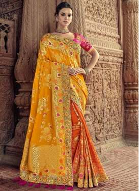 Mustard and Orange Banarasi Silk Half N Half Trendy Saree For Bridal