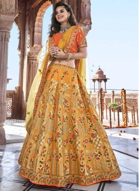 Mustard and Orange Beads Work A - Line Lehenga