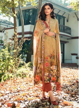 Mustard and Orange Crepe Silk Pant Style Pakistani Suit