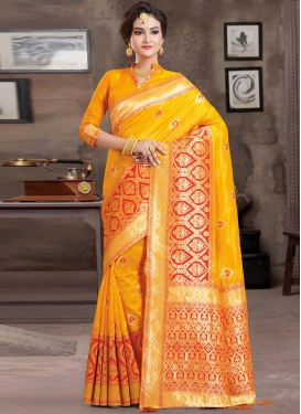 Mustard and Orange Woven Work Art Silk Classic Saree