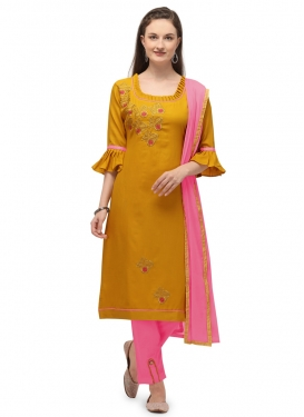 Mustard and Pink Cotton Pant Style Classic Salwar Suit For Casual