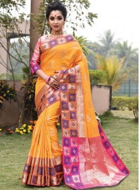 Mustard and Pink Woven Work Trendy Classic Saree