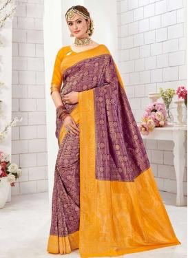 Mustard and Purple Woven Work Designer Contemporary Saree