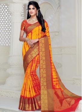 Mustard and Red Art Silk Designer Traditional Saree