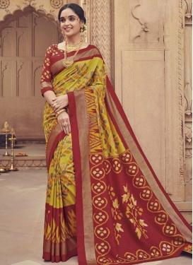 Mustard and Red Art Silk Traditional Designer Saree