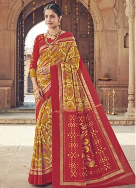 Mustard and Red Art Silk Trendy Classic Saree