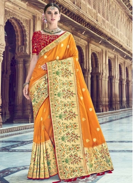 Mustard and Red Banarasi Silk Contemporary Style Saree