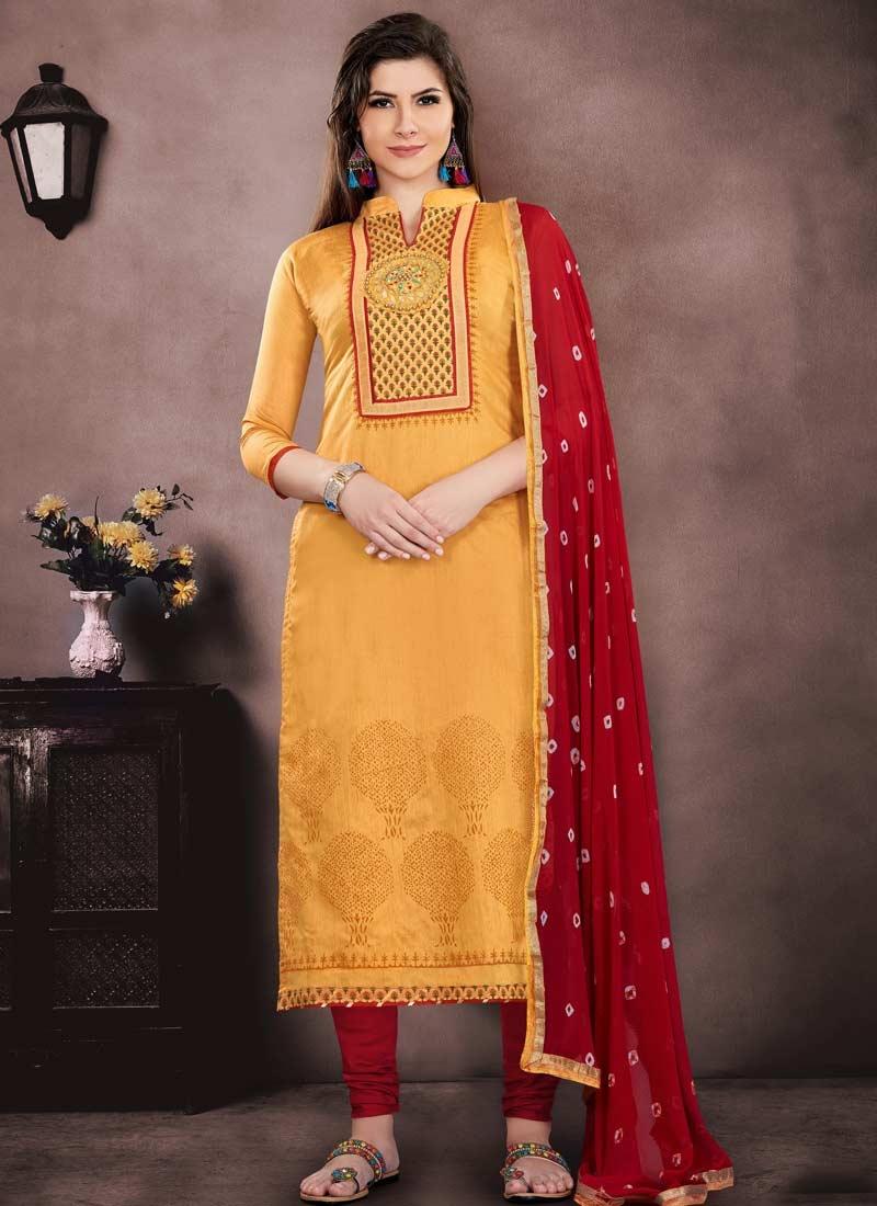 Mustard and Red Chanderi Cotton Trendy Straight Salwar Kameez