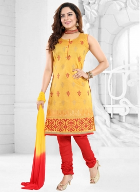Mustard and Red Chanderi Silk Readymade Churidar Suit