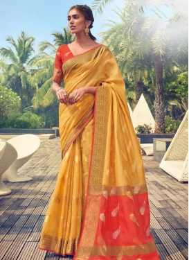 Mustard and Red  Cotton Silk Designer Contemporary Saree