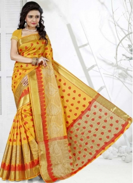 Mustard and Red Cotton Silk Designer Traditional Saree