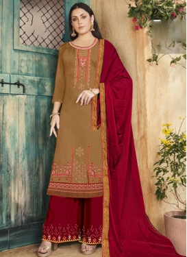 Mustard and Red Cotton Silk Palazzo Style Pakistani Salwar Suit