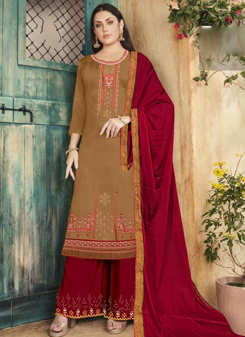 Mustard and Red Cotton Silk Palazzo Style Pakistani Salwar Suit