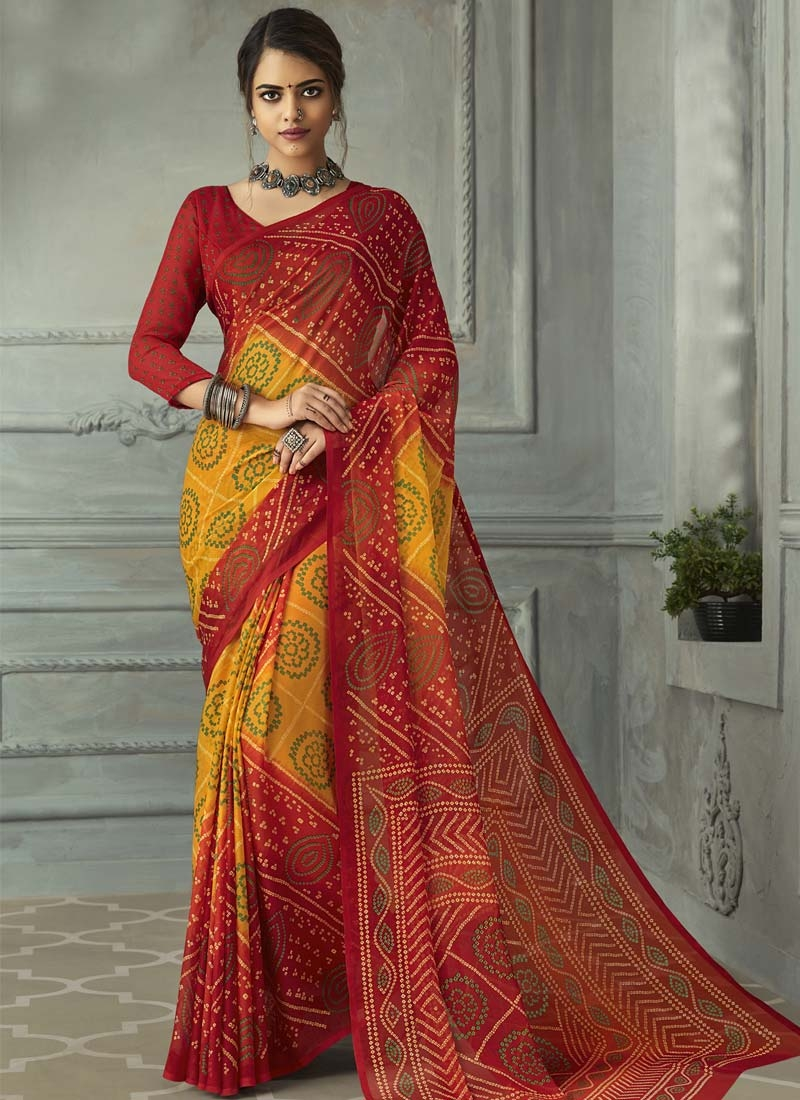 Mustard and Red Designer Contemporary Saree For Casual