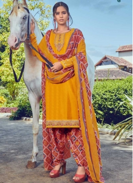 Mustard and Red Designer Patiala Salwar Kameez For Casual