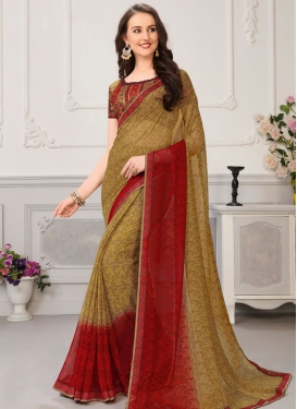 Mustard and Red Digital Print Work Traditional Designer Saree
