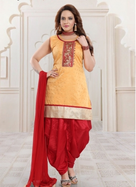 Mustard and Red Embroidered Work Readymade Salwar Suit