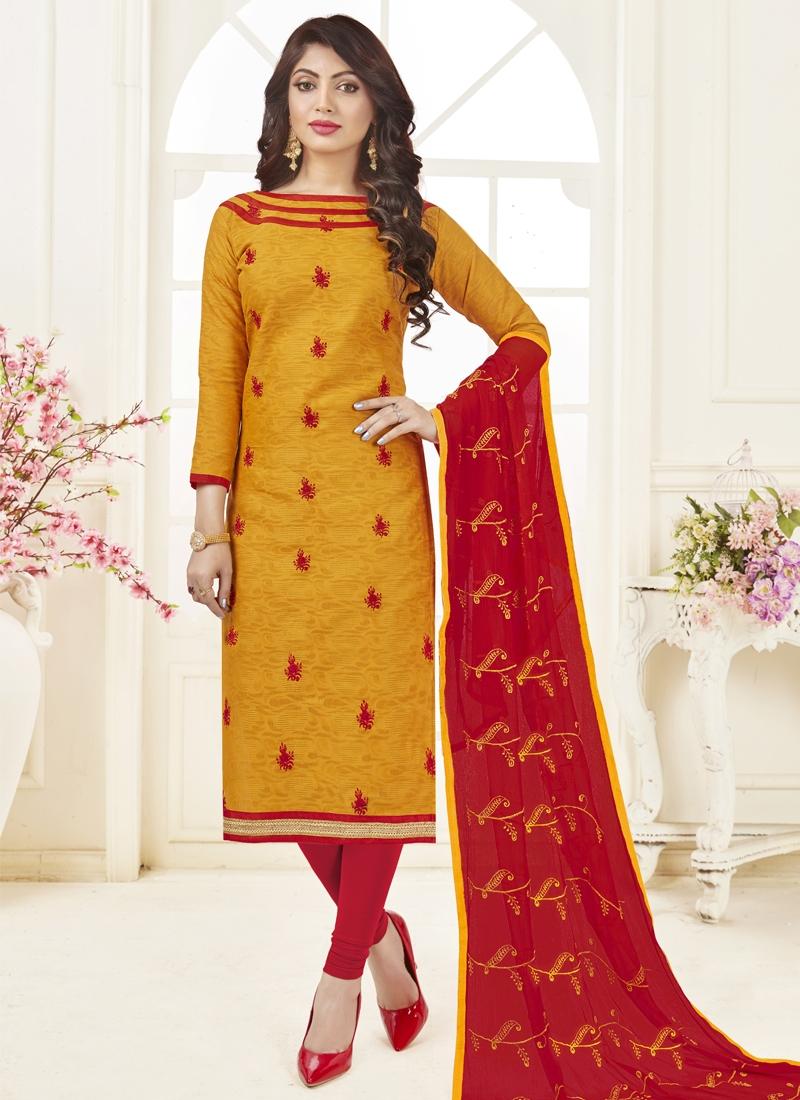 Mustard and Red Embroidered Work Trendy Churidar Salwar Kameez