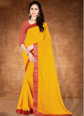 Mustard and Red Lace Work Designer Contemporary Saree