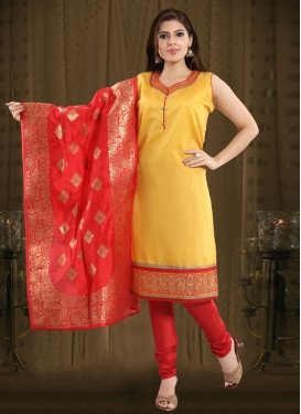 Mustard and Red Lace Work Readymade Churidar Salwar Suit