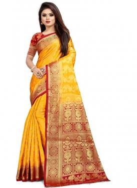 Mustard and Red Malbari Silk Trendy Classic Saree