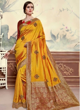Mustard and Red Poly Silk Traditional Designer Saree