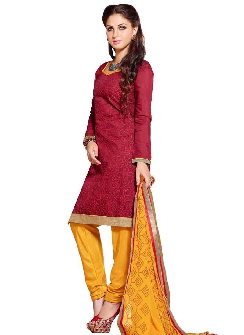 Mustard and Red Punjabi Churidar Salwar Kameez For Casual