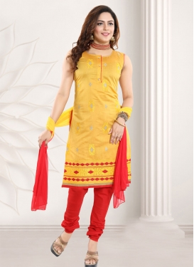 Mustard and Red Readymade Churidar Suit