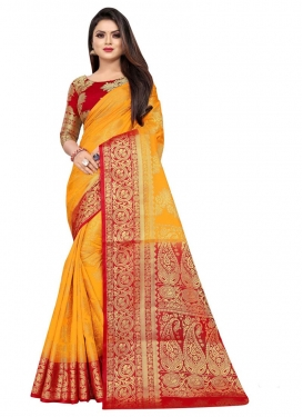 Mustard and Red Traditional Designer Saree For Casual