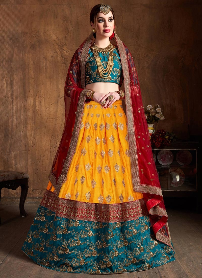 Mustard and Red Trendy A Line Lehenga Choli For Bridal