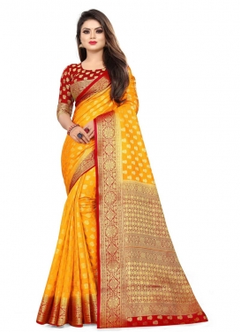 Mustard and Red Trendy Classic Saree