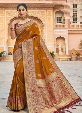 Mustard and Red Woven Work Designer Contemporary Saree