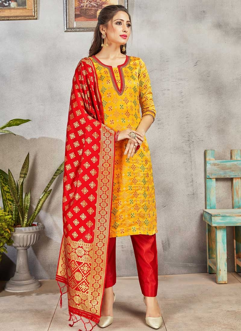 Mustard and Red Woven Work Pant Style Salwar Kameez