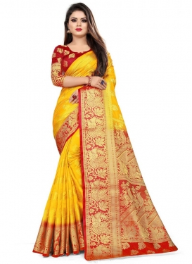 Mustard and Red Woven Work Trendy Classic Saree