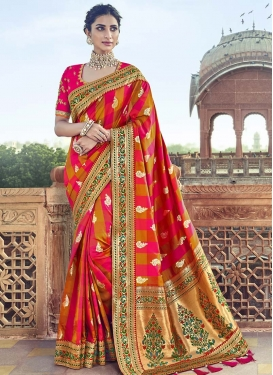 Mustard and Rose Pink Banarasi Silk Contemporary Style Saree