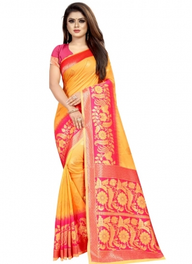 Mustard and Rose Pink Banarasi Silk Traditional Designer Saree