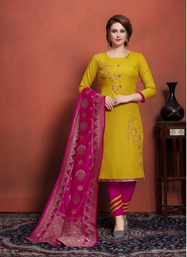 Mustard and Rose Pink Cotton Pant Style Suit