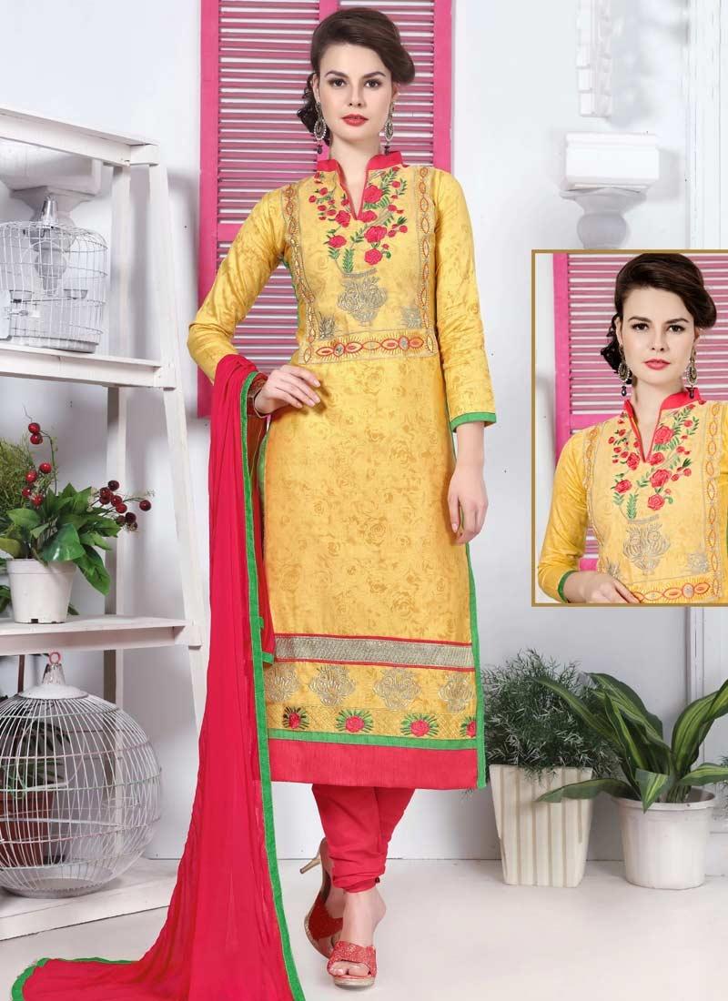 Mustard and Rose Pink Cotton Trendy Churidar Salwar Kameez For Ceremonial