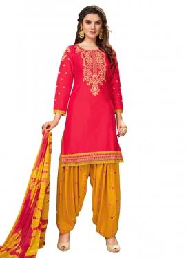 Mustard and Rose Pink Cotton Trendy Patiala Salwar Kameez