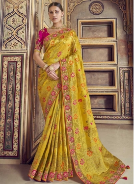 Mustard and Rose Pink Designer Contemporary Style Saree For Bridal