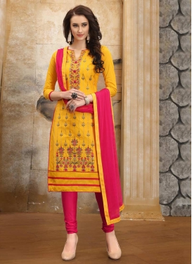 Mustard and Rose Pink Embroidered Work Trendy Churidar Salwar Kameez
