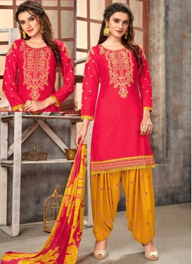 Mustard and Rose Pink Embroidered Work Trendy Patiala Salwar Suit